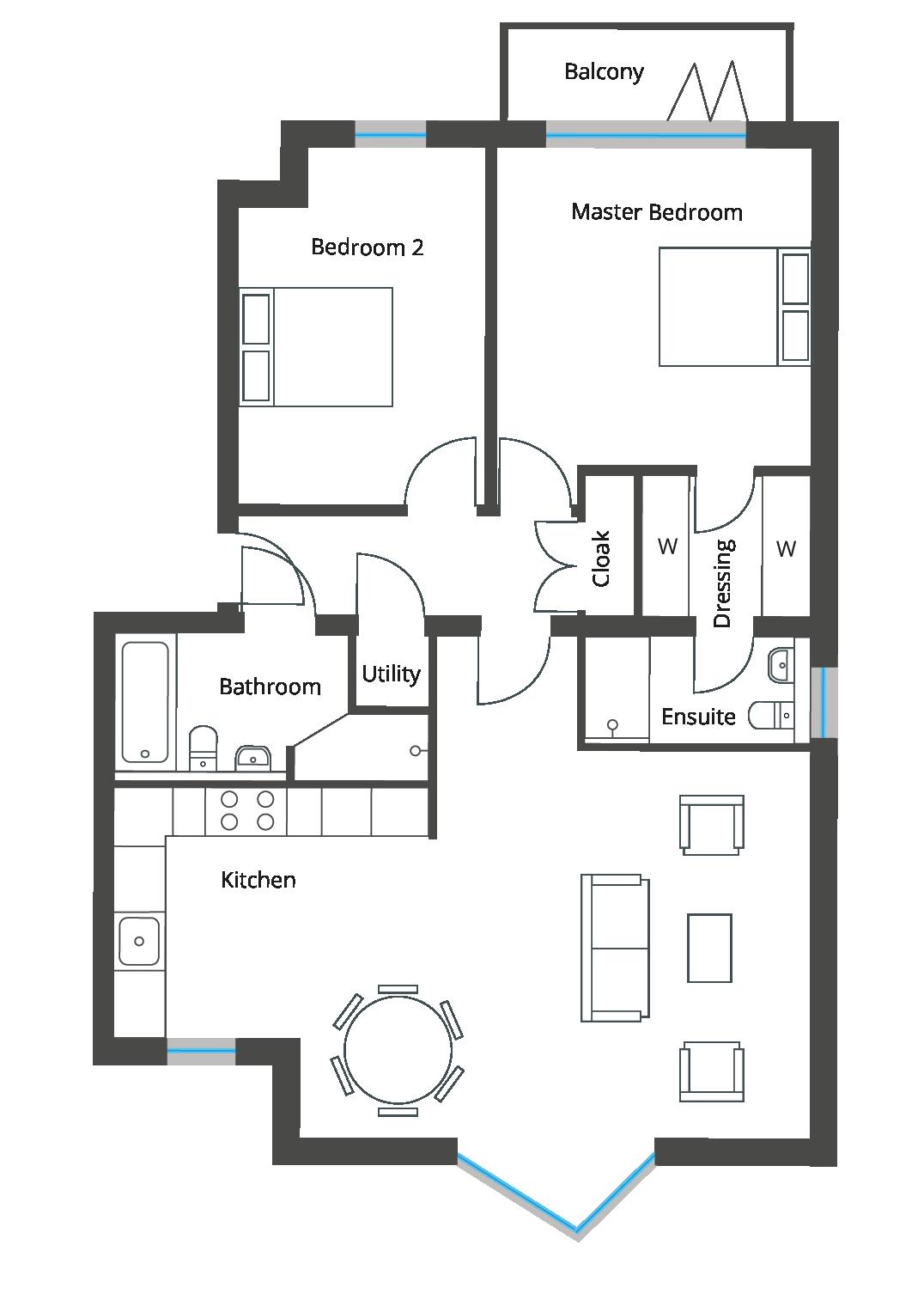 Floorplan for Flat 3