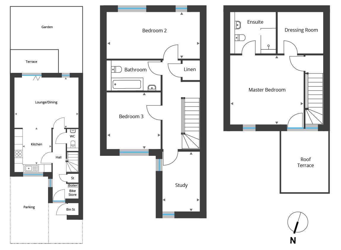 Floorplan for Town Houses 1-6